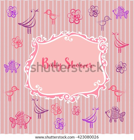 Baby photo album. Baby girl shower invitation. Cute frame for photo. Doodle bird, flower, fish. Pink color. Decorative background. Beautiful border. Template for baby album. Vector illustration. - stock vector