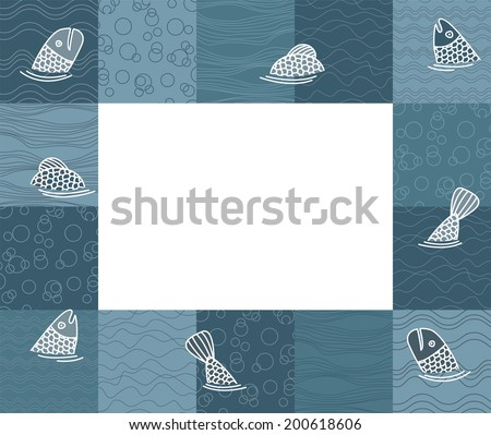 Baby photo frame or card with fishes. Vector illustration - stock vector