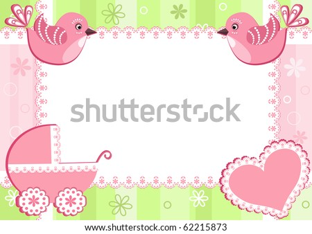 Baby photo frame with birds. Vector illustration. - stock vector