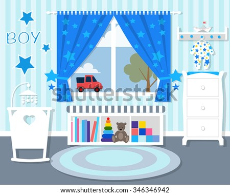 Baby room in blue/Baby room with furniture/Nursery interior/Flat style vector illustration/wall/Baby room/Nursery room/Baby room in Flat style/white furniture/toys/curtains/pajamas/boy - stock vector