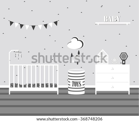 Baby room interior design in scandinavian flat style.Monochrome palette children's room.Bed,commode and cute stuff for child.Furniture cartoon for baby's sleeping room.Nursery vector illustration - stock vector