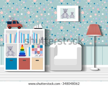 Baby room with furniture/Children's room/Children's interior/Nursery interior/Flat style vector illustration/Baby room/Nursery room/Baby room in Flat style/furniture/toys/curtains/pajamas - stock vector