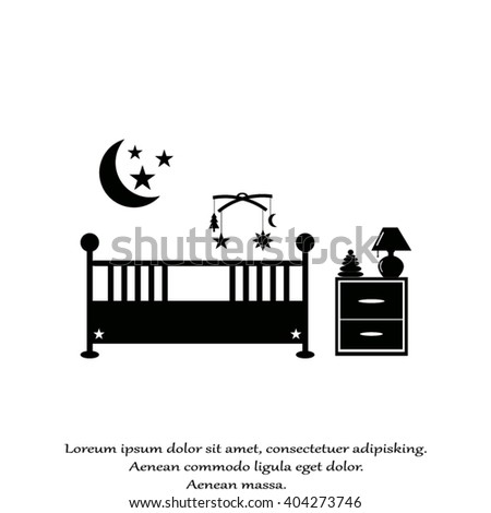 Baby room with furniture. Nursery interior. Baby room. Nursery room. Baby room in Flat style - stock vector