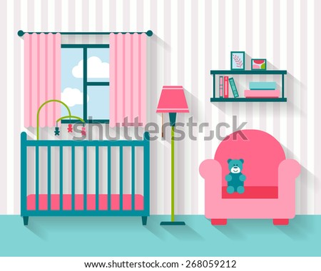Baby room with furniture. Nursery interior. Flat style vector illustration. - stock vector