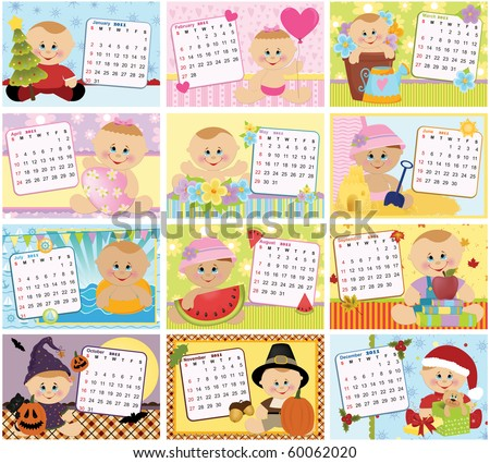 Baby's monthly calendar for 2011 (EPS10) - stock vector