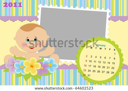 Baby's monthly calendar for january 2011 with photo frames (EPS10)