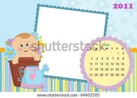 Baby's monthly calendar for july 2011 with photo frames (EPS10)