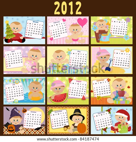 Baby's monthly calendar for year 2012 - stock vector