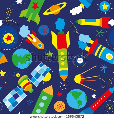 baby's rockets seamless pattern - stock vector