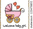 Baby scrapbook collection, toddler accessories concept, baby stroller hand drawn, vector illustration - stock vector