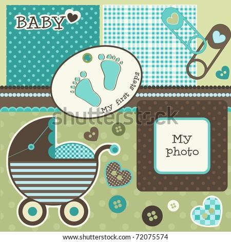 Baby scrapbook elements, vector - stock vector