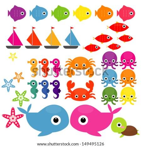 Baby Sea Creatures  - stock vector