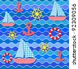 Baby seamless sea pattern.Vector illustration - stock vector