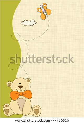 baby shower and announcement card - stock vector