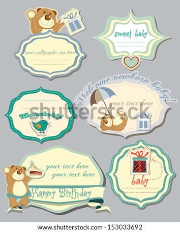 Baby shower and birthday card set with cute teddy bear vector illustration