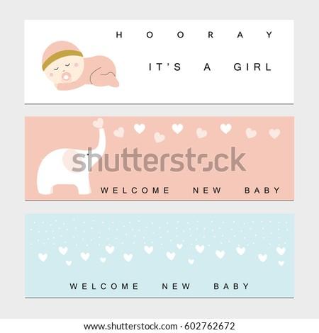 baby shower banners baby boy girl stock vector 602762672 shutterstock