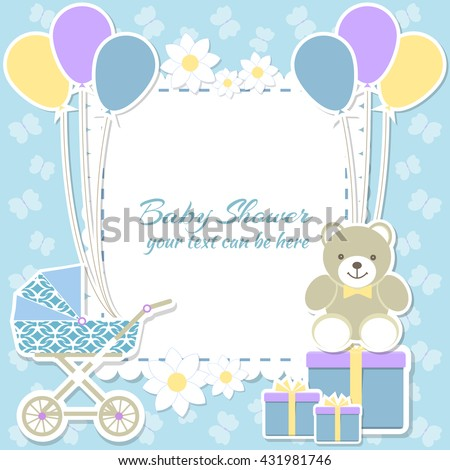 Baby shower boy, invitation card. Place for text. Greeting cards. Vector illustration. Teddy bear with a gift box, blue background, butterfly, flower. - stock vector