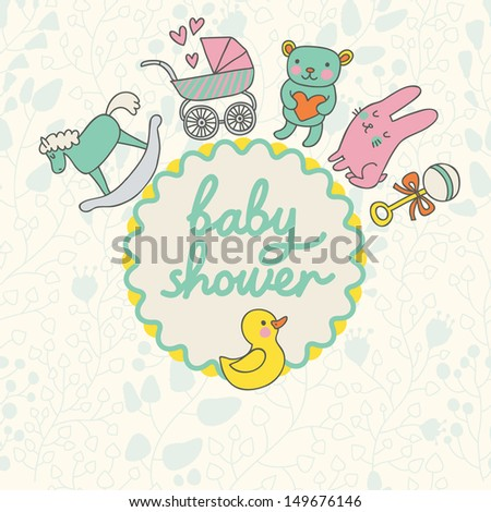 Baby shower card design in vector. Cartoon childish elements in stylish colors. Baby background in cartoon style with toys, horse, bear, rattler, rabbit and duck.  - stock vector