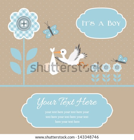 baby shower card for baby boy, button flowers with stork.Vector eps10 , illustration.