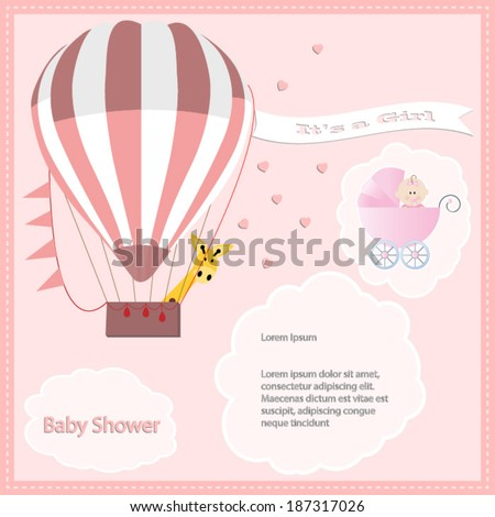 baby shower card, for baby girl,air balloon and giraffe with stroller.Vector eps10, illustration. - stock vector