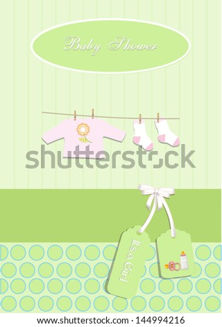 baby shower card,for baby girl, with clothing.Vector eps10, illustration.