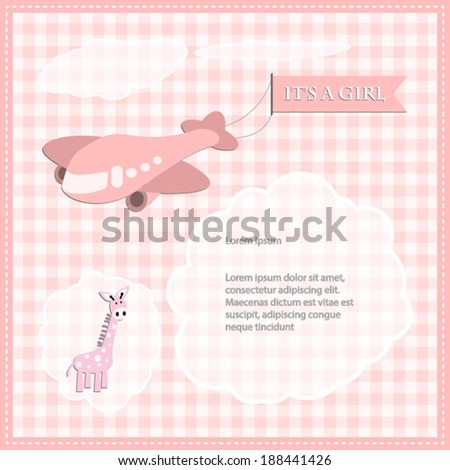 baby shower card for girl.airplane with the banner and  pink giraffe Vector eps10,illustration. - stock vector