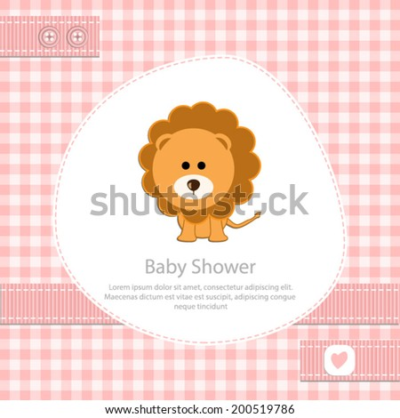 baby shower card for girl.Pink gingham background with lion.Vector eps10,illustration.  - stock vector