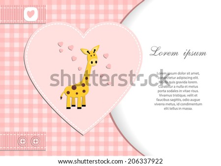 baby shower card for girl.Pink heart and gingham background with giraffe.Vector eps10,illustration. - stock vector