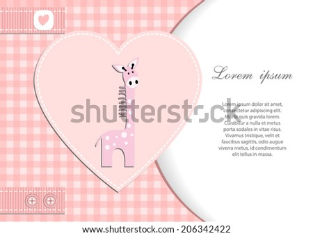 baby shower card for girl.Pink heart and gingham background with pink giraffe.Vector eps10,illustration. - stock vector