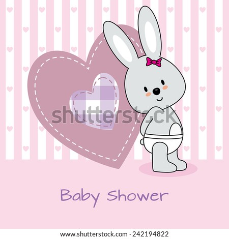 baby shower card. rabbit and heart  - stock vector