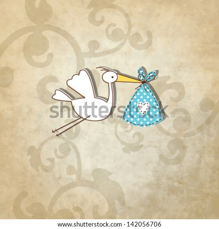 baby shower card - Simple unique design with vintage background and hand drawn illustration stork in the front - stock vector