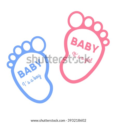 baby shower card with baby foot prints vector illustration stock