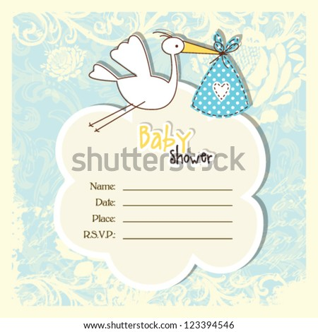 Baby shower card with copy space - stock vector