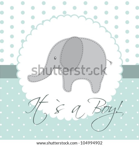baby shower card with cute elephant. vector illustration - stock vector