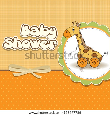 Baby shower card with cute giraffe toy - stock vector