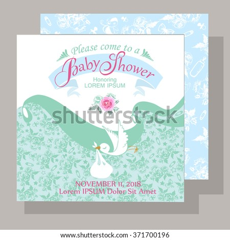 Baby shower card with flying bird carry in its beak a gift - stock vector