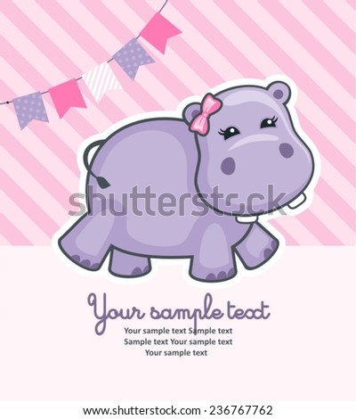 baby shower card with hippo - stock vector