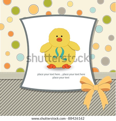 baby shower card with little duck - stock vector
