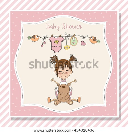 baby shower card with little girl and her teddy bear, vector eps10 - stock vector
