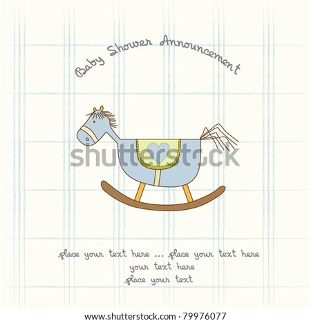 baby shower card with wood horse - stock vector