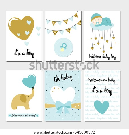 Baby shower cards with elephant and hearts