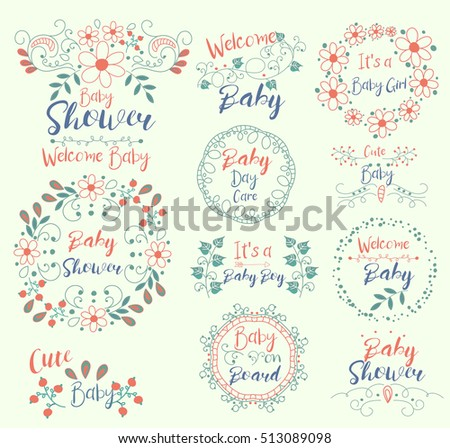 Baby Shower.Cute.Welcome.It S A Girl. On Board. Insignias Logotypes