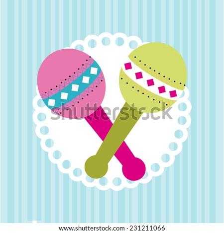 Baby shower design over blue background,vector illustration - stock vector