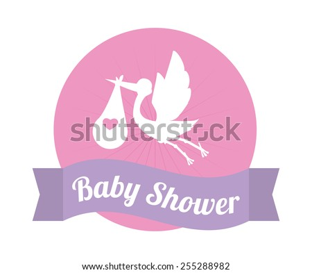 newborn baby girl bird and baby flat icon with long shadow eps10