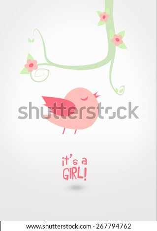 Baby shower for baby girl, illustration and typography. A pink bird flying and singing under a decorative spring branch with flowers, leaves, swirls and text messages. - stock vector