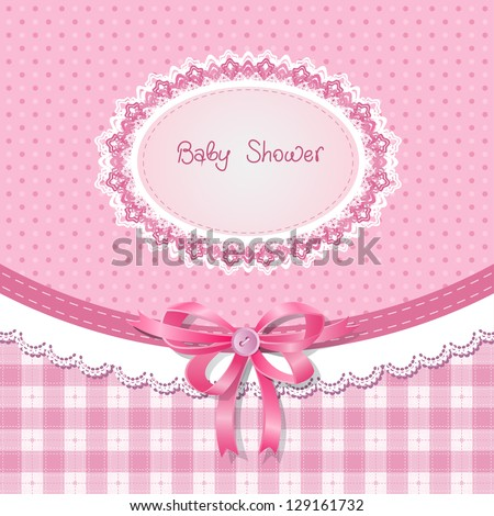 Baby shower for girl, pink pastel tones - stock vector