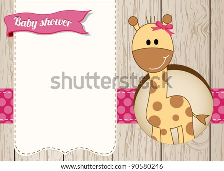 Baby shower giraffe girl card - stock vector