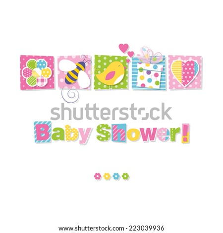 baby shower greeting card - stock vector