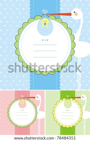 Baby shower greeting card in three different colours for your choice