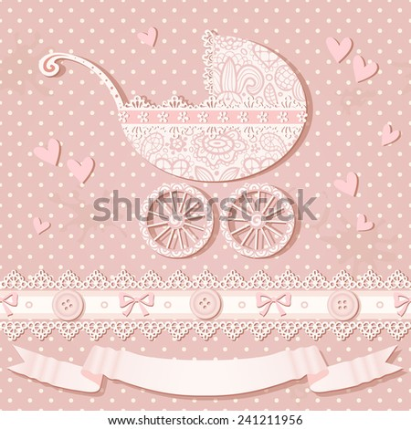 Baby shower greeting card. Vector polka dot background with baby carriage, laces, hearts, ribbons and bows. Seamless vintage pattern. - stock vector